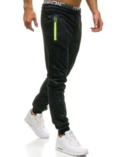 Spodnie męskie dresowe czarne Denley W1331