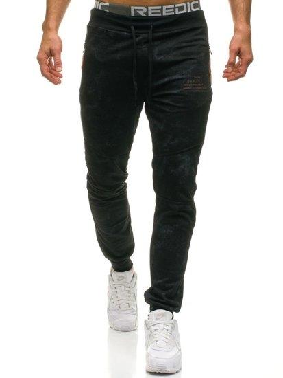 Spodnie męskie dresowe czarne Denley W1336