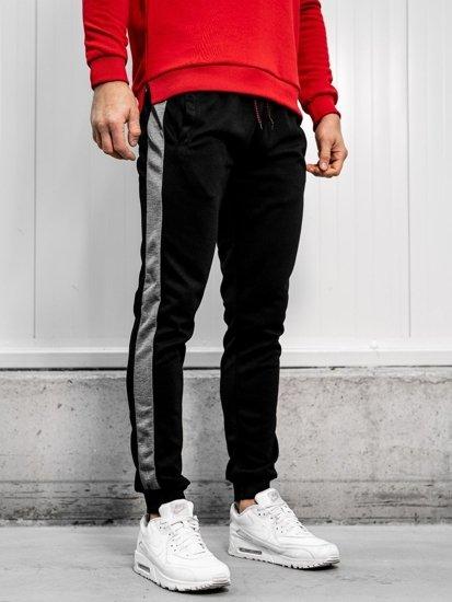 Spodnie męskie dresowe czarno-grafitowe Denley JZ11003