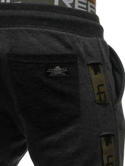 Spodnie męskie dresowe joggery grafitowo-zielone Denley 0921