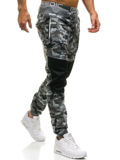 Spodnie męskie dresowe moro-szare Denley QN274