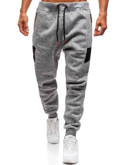 Spodnie męskie dresowe szare Denley TC840