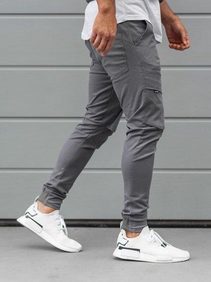 Spodnie męskie joggery bojówki grafitowe Denley 1003