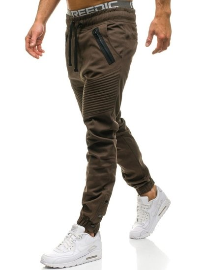 Spodnie męskie joggery brązowe Denley 0952