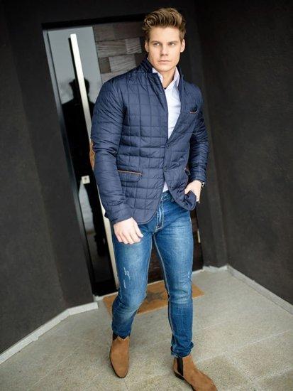 Stylizacja nr 159 - kurtka przejściowa, elegancka koszula męska, spodnie jeansowe