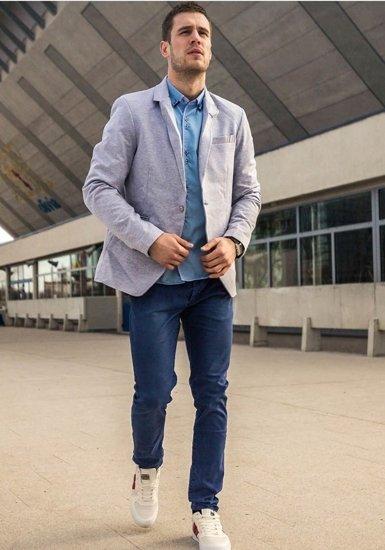 Stylizacja nr 188 - marynarka casualowa, elegancka koszula męska, spodnie chinosy, buty