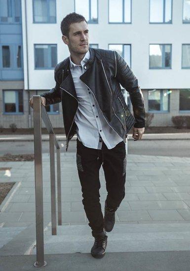 Stylizacja nr 193 - kurtka skórzana, elagancka koszula męska, buty sneakersy