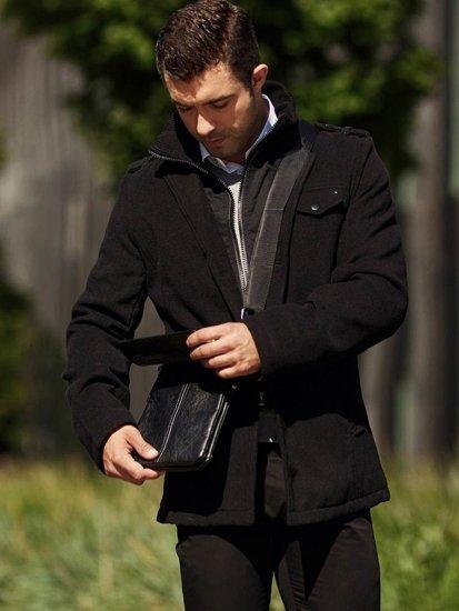 Stylizacja nr 312 - płaszcz zimowy, sweter w serek, elegancka koszula, spodnie chinosy, torba na ramię