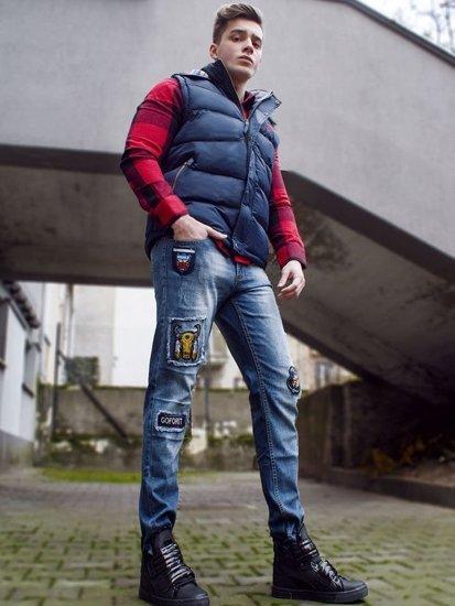 Stylizacja nr 86 - bezrękawnik z kapturem, koszula flanelowa, spodnie jeansowe, sneakersy