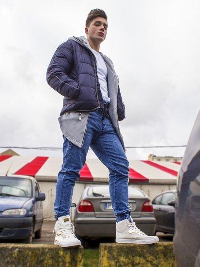 Stylizacja nr 88 - kurtka zimowa, bluza z kapturem, T-shirt, spodnie jeansowe, sneakersy