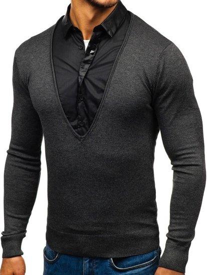 Sweter męski 2w1 z koszulą grafitowy Denley 88132
