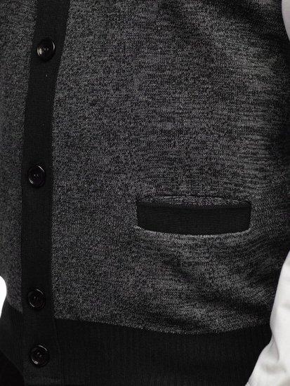Sweter męski bez rękawów czarny Denley 8133