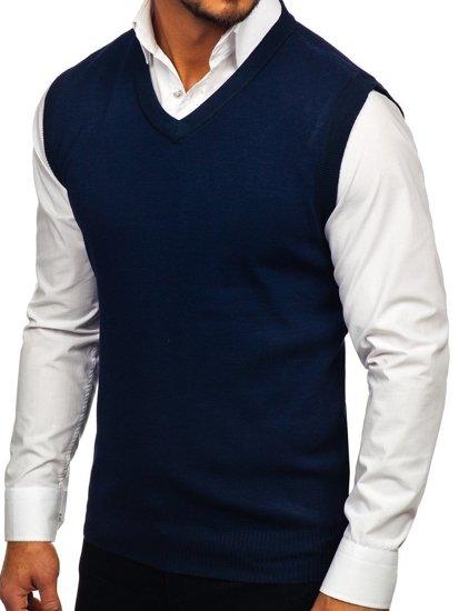 Sweter męski bez rękawów granatowy Denley W01