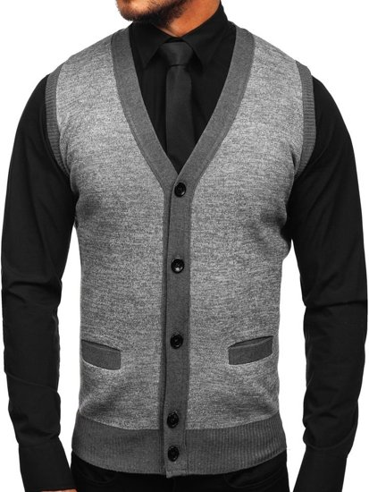 Sweter męski bez rękawów szary Denley 8133