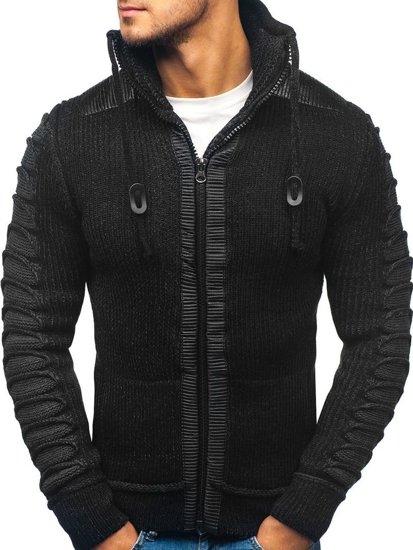 Sweter męski ze stójką czarny Denley 20010