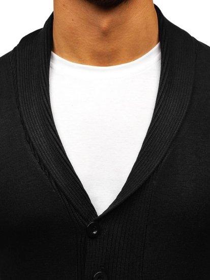 Sweter męski rozpinany czarny Denley 88101
