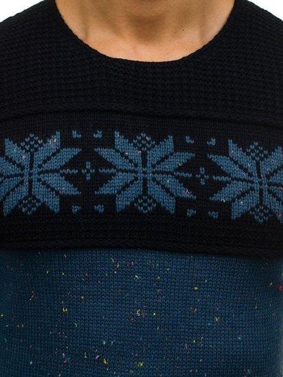 Sweter męski we wzory niebiesko-granatowy Denley 1563