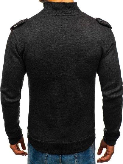 Sweter męski ze stójką antracytowy Bolf 1132