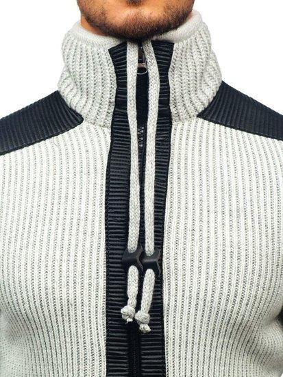 Sweter męski ze stójką ecru Denley 20010