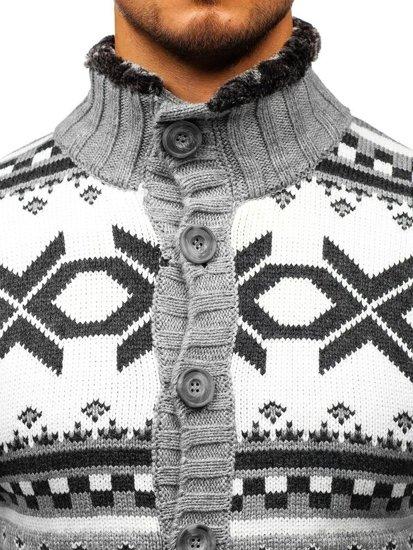 Sweter męski ze stójką rozpinany antracytowy Denley 585