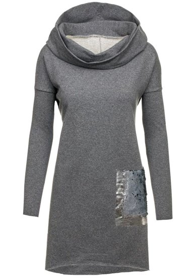 Sweter tunika damska antracytowy Denley 02