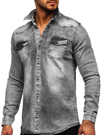 Szara koszula męska jeansowa z długim rękawem Denley R708