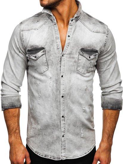 Szara koszula męska jeansowa z długim rękawem Denley R805