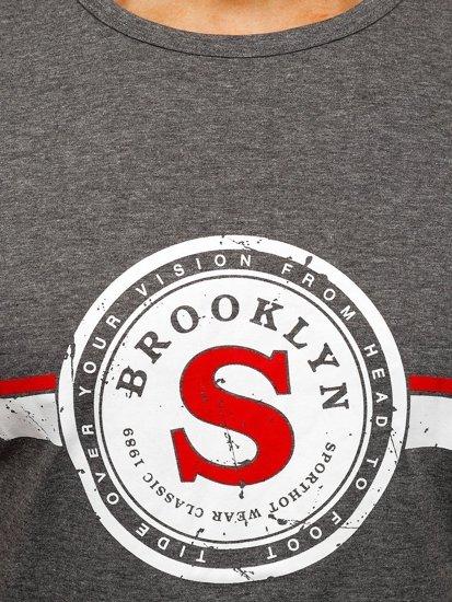 Szary T-shirt męski z nadrukiem Denley SS11083