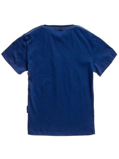 T-shirt chłopięcy z nadrukiem granatowy Denley T3314