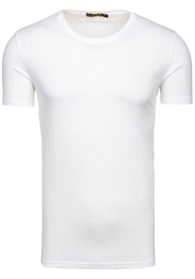 T-shirt męski bez nadruku biały Denley 7552
