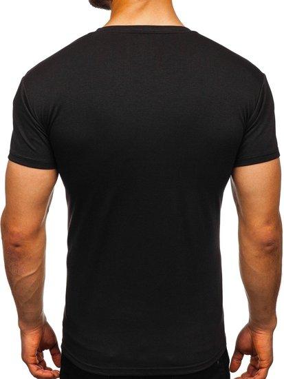 T-shirt męski bez nadruku czarny Denley 2005