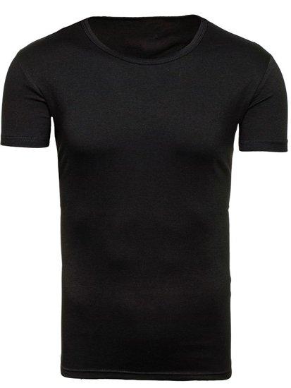 T-shirt męski bez nadruku czarny Denley 2006