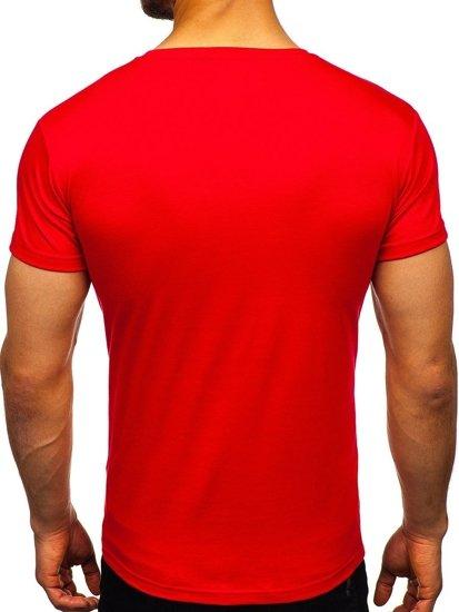 T-shirt męski bez nadruku czerwony Denley 2005