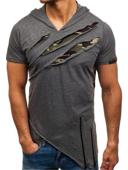 T-shirt męski bez nadruku grafitowy Denley 459
