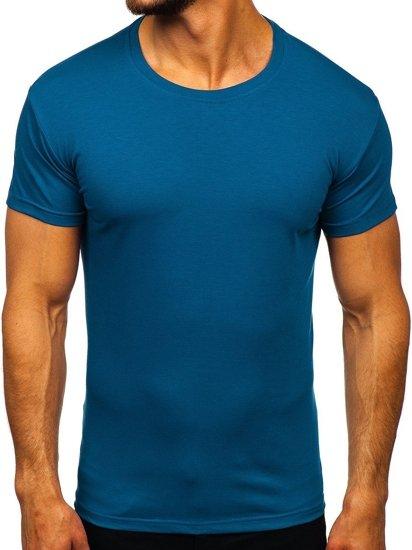 T-shirt męski bez nadruku indygo Denley 2005