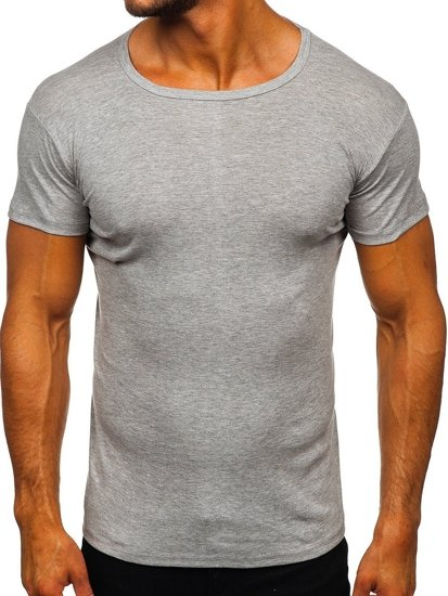 T-shirt męski bez nadruku szary Denley NB003