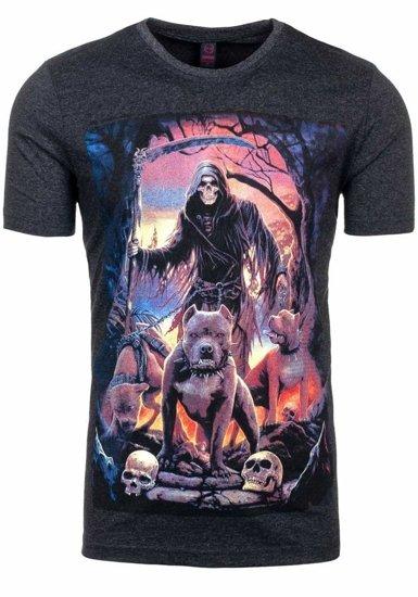 T-shirt męski z nadrukiem antracytowy Denley 3218