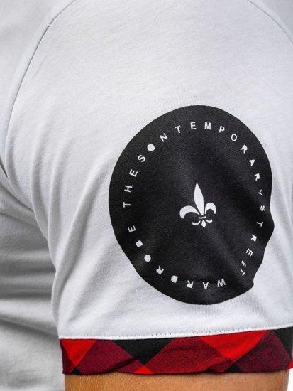 T-shirt męski z nadrukiem biało-czerwony Denley 1094