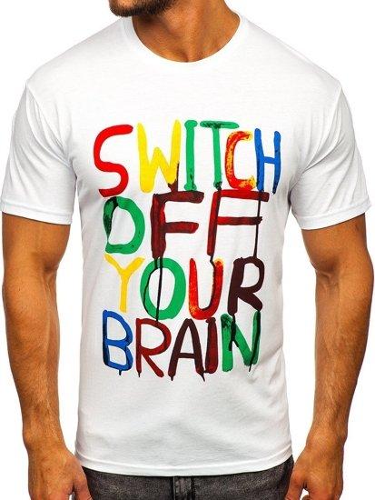 T-shirt męski z nadrukiem biały Bolf 1181