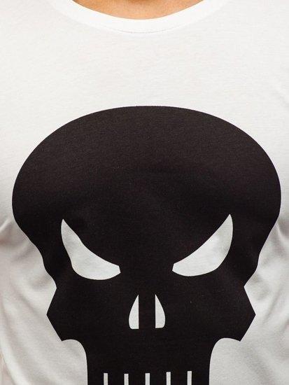 T-shirt męski z nadrukiem biały Denley 1128