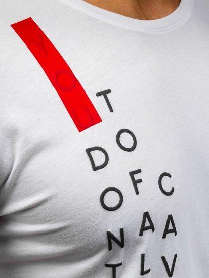T-shirt męski z nadrukiem biały Denley 358