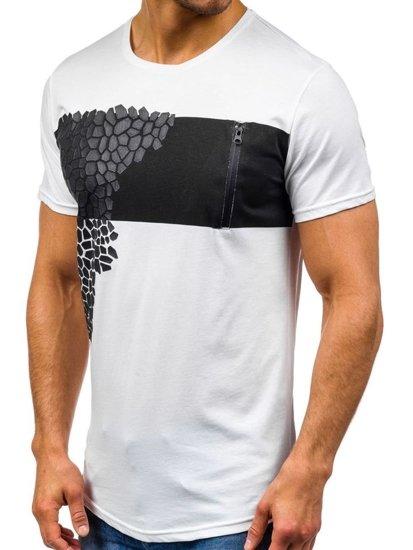 T-shirt męski z nadrukiem biały Denley 380