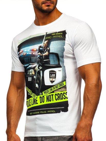 T-shirt męski z nadrukiem biały Denley 6298