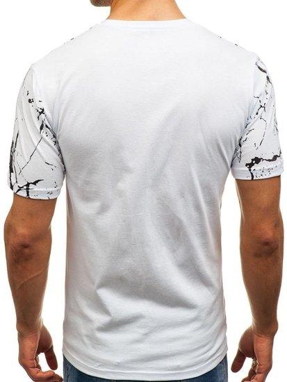 T-shirt męski z nadrukiem biały Denley 6301