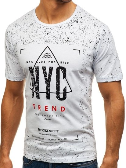 T-shirt męski z nadrukiem biały Denley 6302