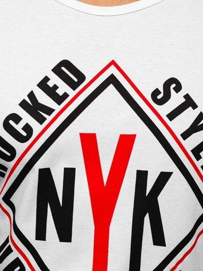 T-shirt męski z nadrukiem biały Denley 6305