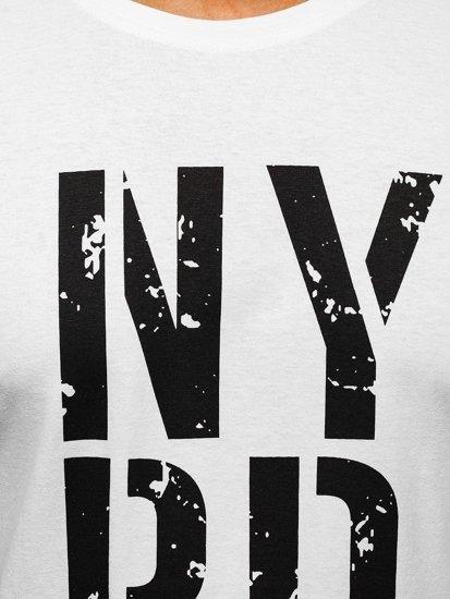 T-shirt męski z nadrukiem biały Denley 6306