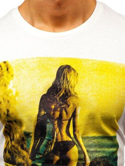 T-shirt męski z nadrukiem biały Denley 7434