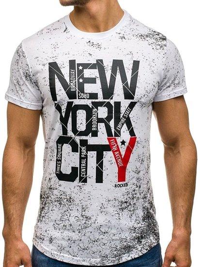 T-shirt męski z nadrukiem biały Denley s109