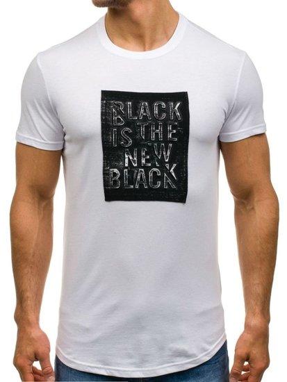 T-shirt męski z nadrukiem biały Denley s188